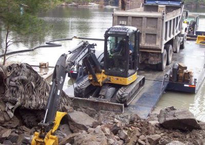 Excavation work done from barge