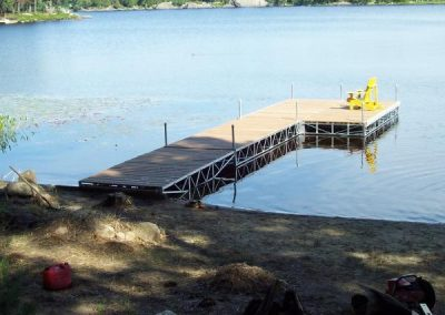 Removable post dock on inland lake