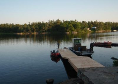 Steel pile dock with ramp and floating dock