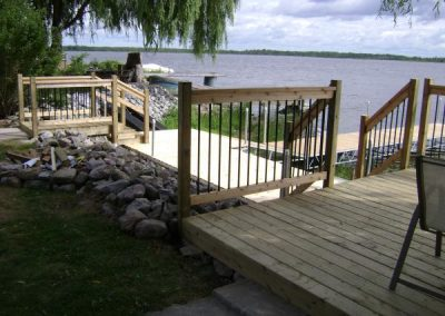 Permanent shore deck and removable post dock