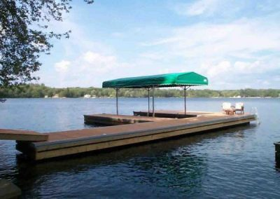 Permanent steel dock with canopy