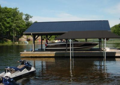 Steel dock and boat port with wet slip boat lift