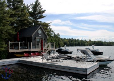 Steel dock in Cedar and bunkie on Six Mile Lake