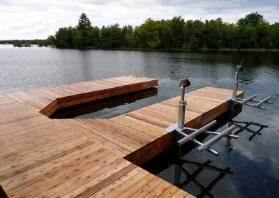 Steel dock in Cedar with PWC lifts
